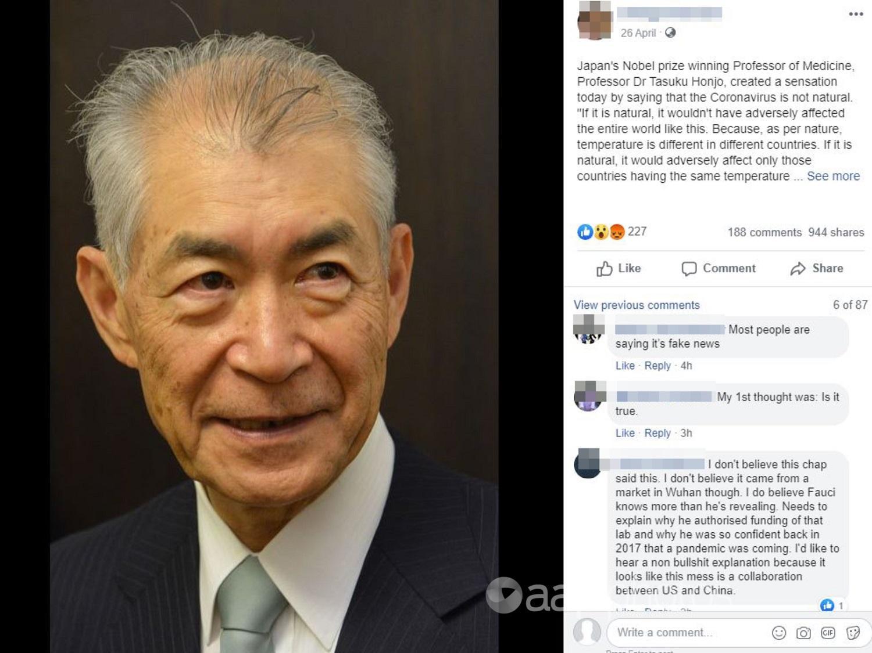 Screenshot of Facebook post