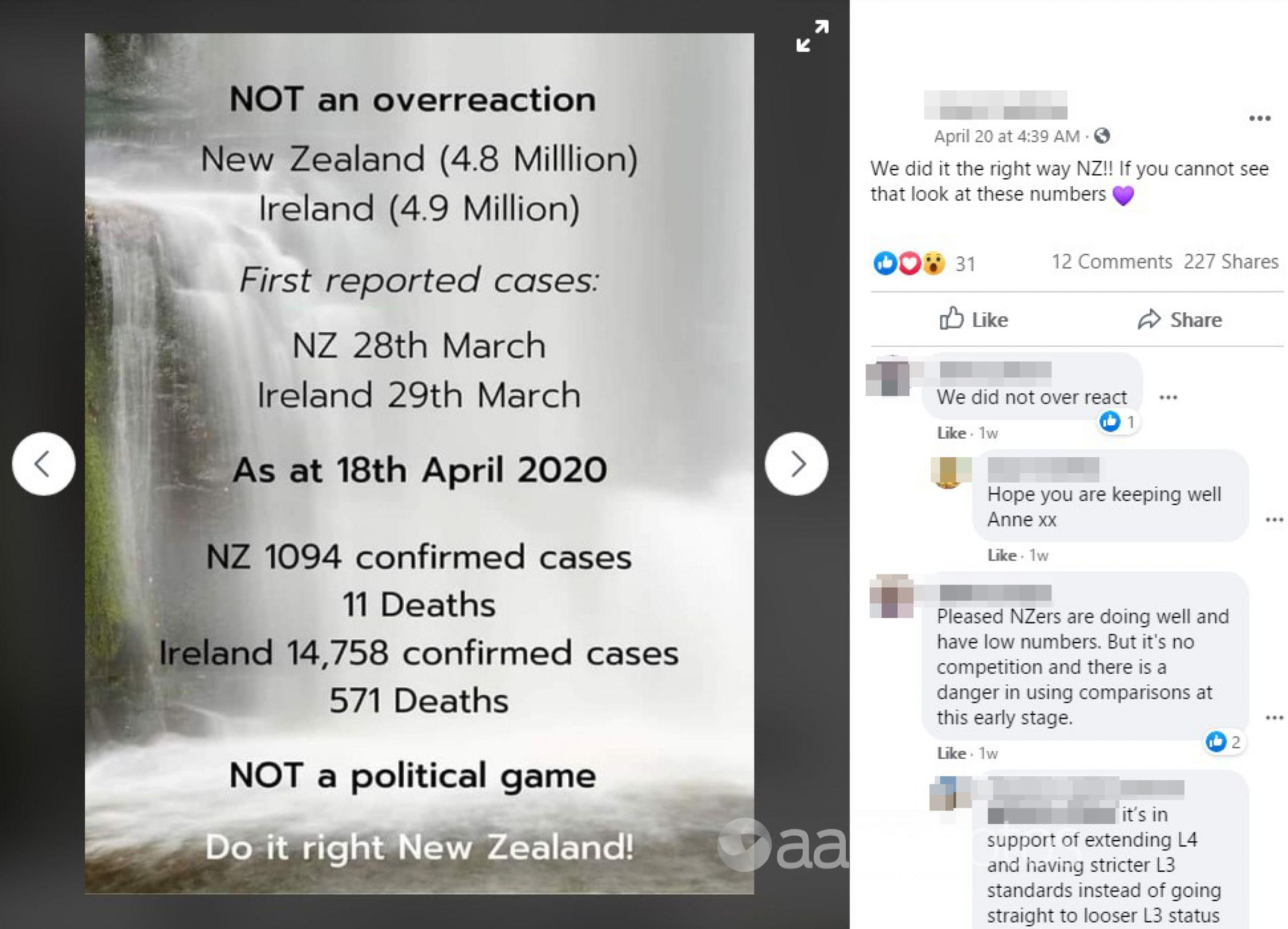 A Facebook post from April 20