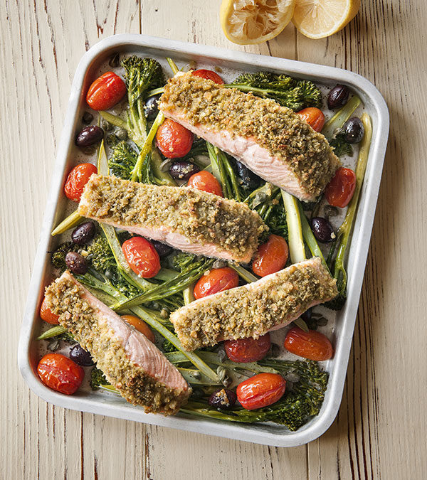 Salmon with pesto breadcrumbs roasted tomatoes & broccolini