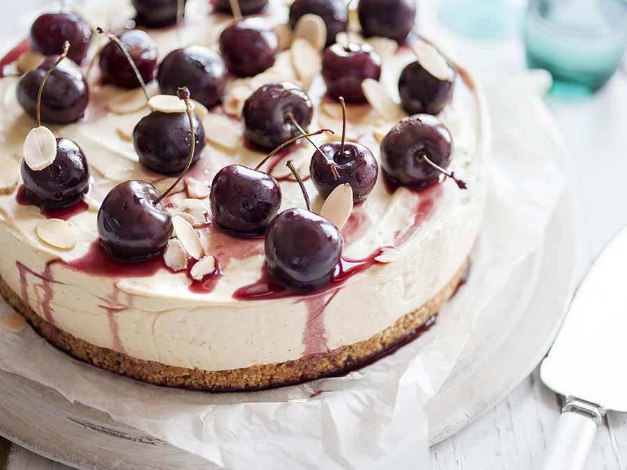 Cherry & almond cheesecake