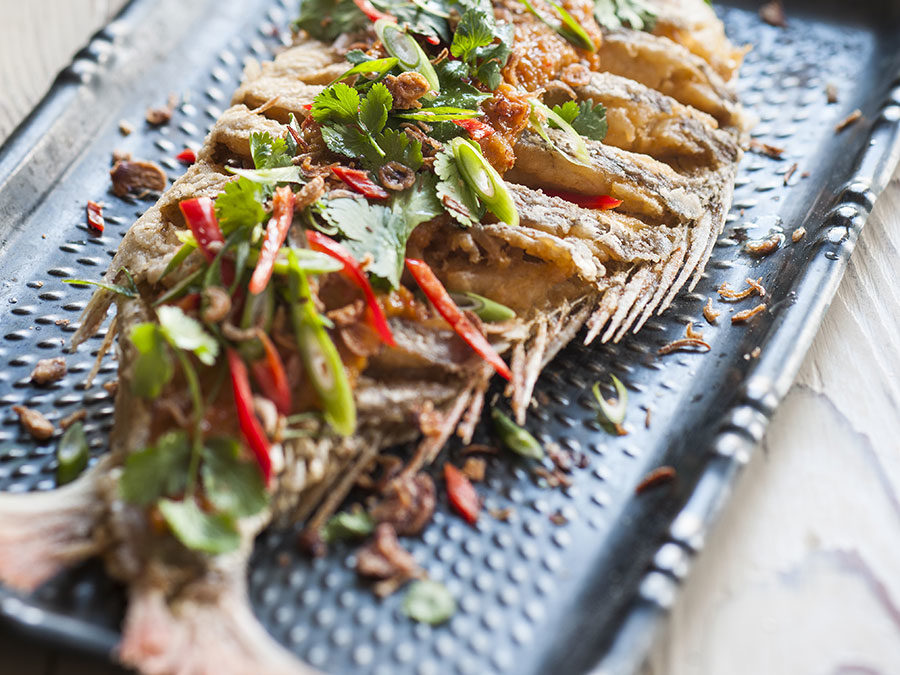 Thai style deep fried snapper