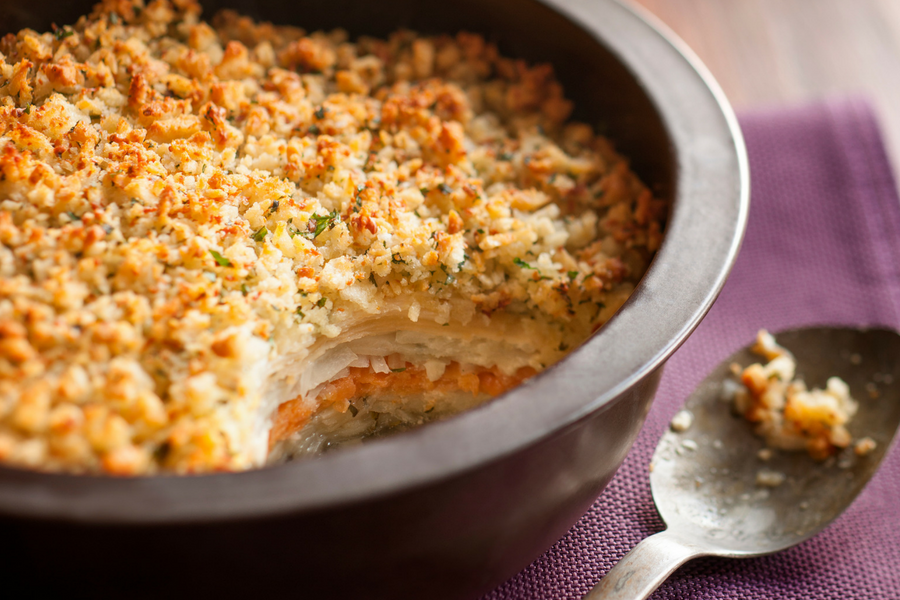 Sweet Potato, Celeriac, Parsnip & Potato Gratin