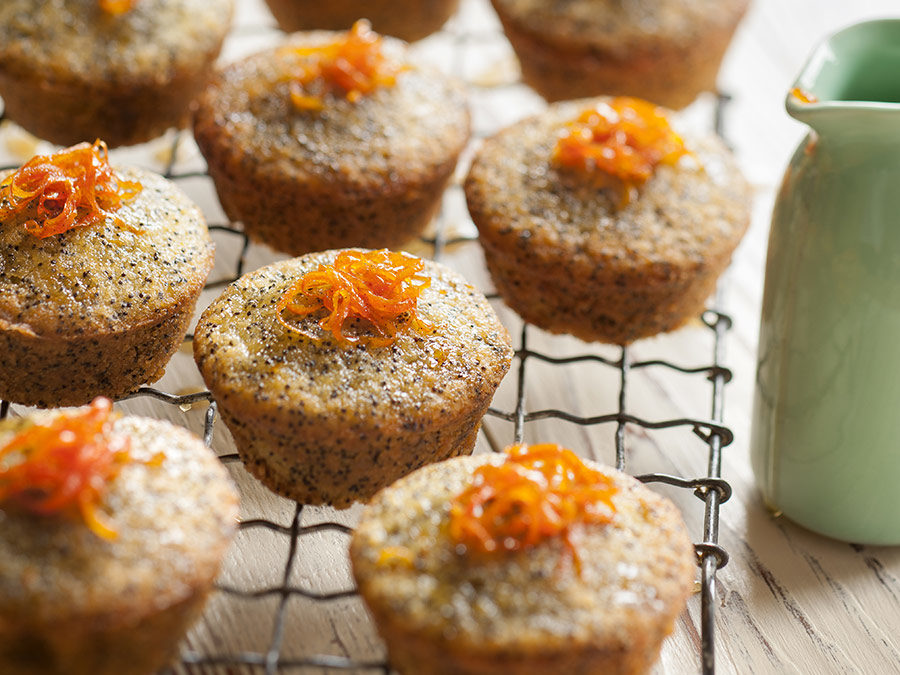 Sticky mandarin almond & poppy seed cakes