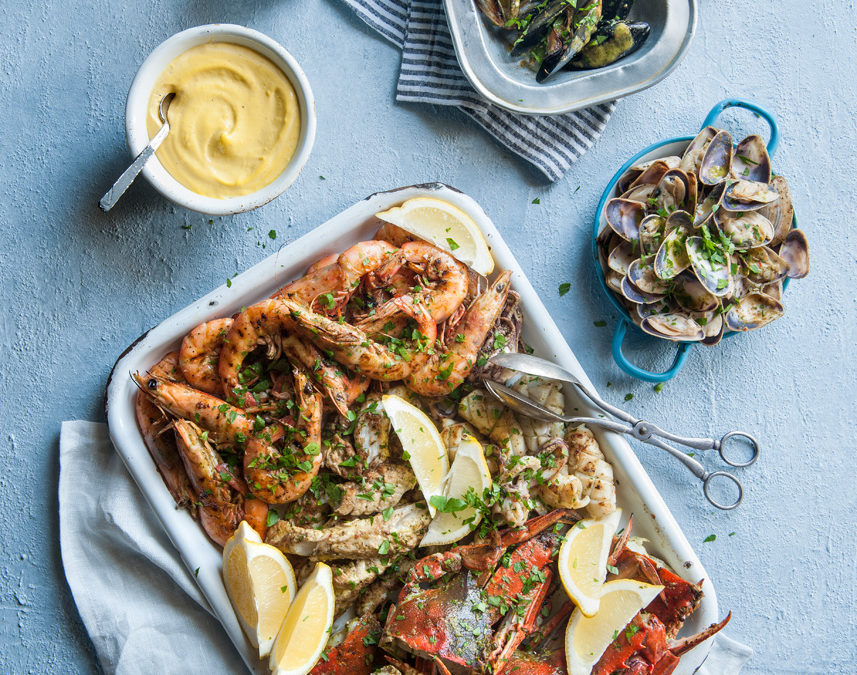 Barbecued Seafood Platter with Lemon & Saffron Aioli