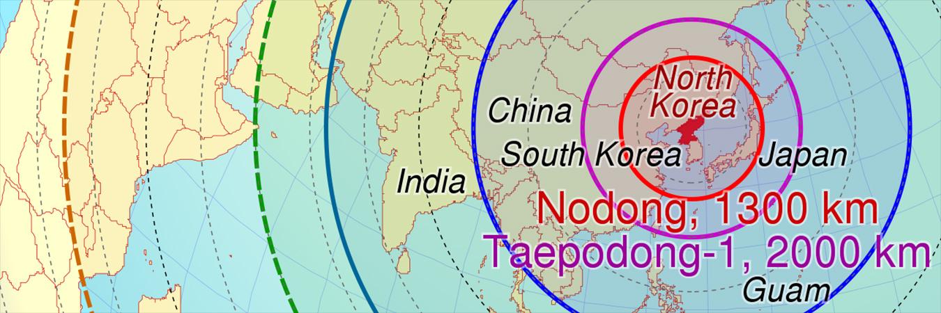 North Korean Missile Range. Image: Wikimedia.