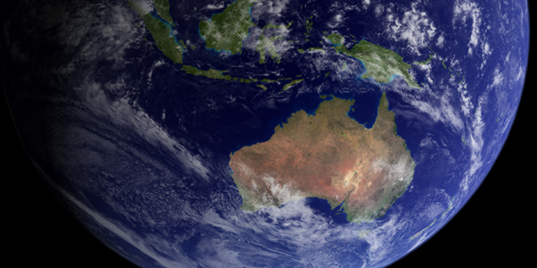Image of the earth from space with a focus on Australia