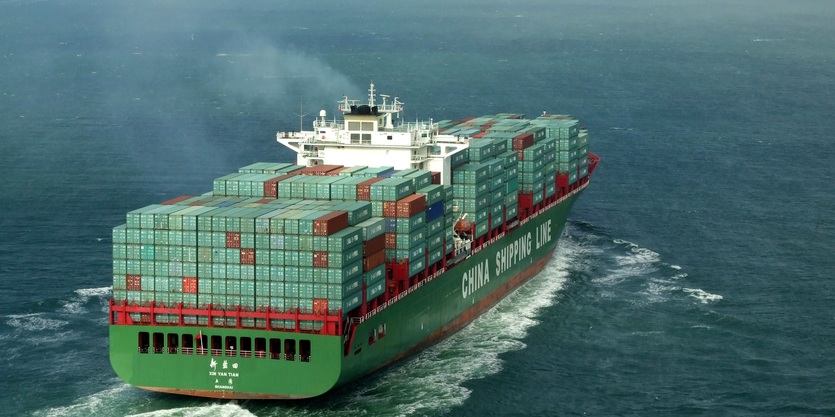 A China Shipping Line container ship steaming ahead on calm seas