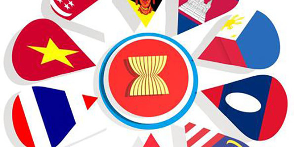 Graphic representing the ASEAN union members national flags