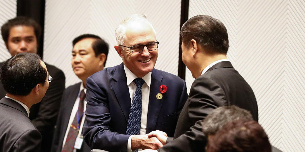 Centre or periphery? Prime minister Malcolm Turnbull with Chinese president Xi Jinping during the leaders' retreat at an Asia-Pacific Economic Cooperation meeting in Da Nang, Vietnam, last November. Alex Ellinghausen/Fairfax Media/AAP Image