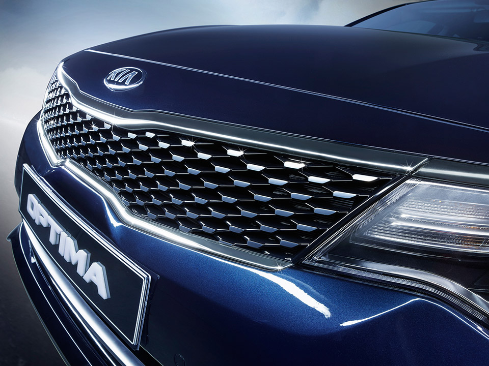 Front metallic-finish grille