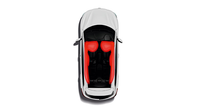 6 standard airbags - dual front, dual side and dual curtain SRS airbags