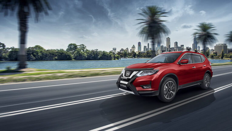 X-TRAIL shown in Ruby Red  Ti model shown with optional accessories.