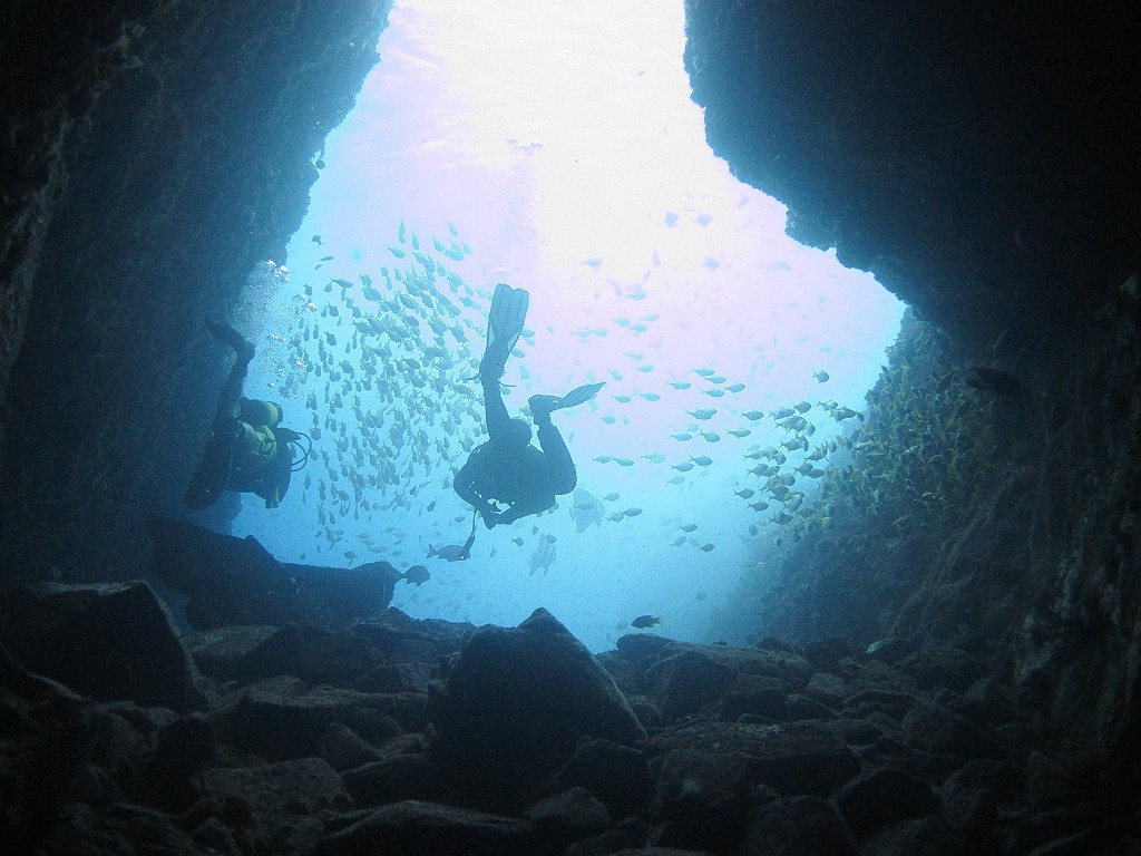 Exiting Fish Rock Cave. It's better than an aquarium in there!