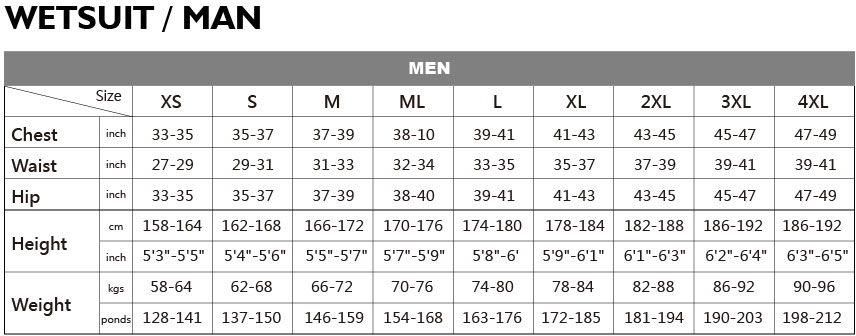 Image result for salvimar men's and womens wetsuit size chart