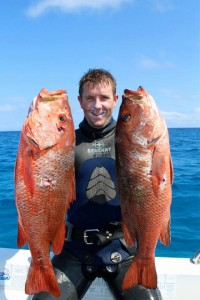Travis Hogan with two very nice Mangrove Jacks