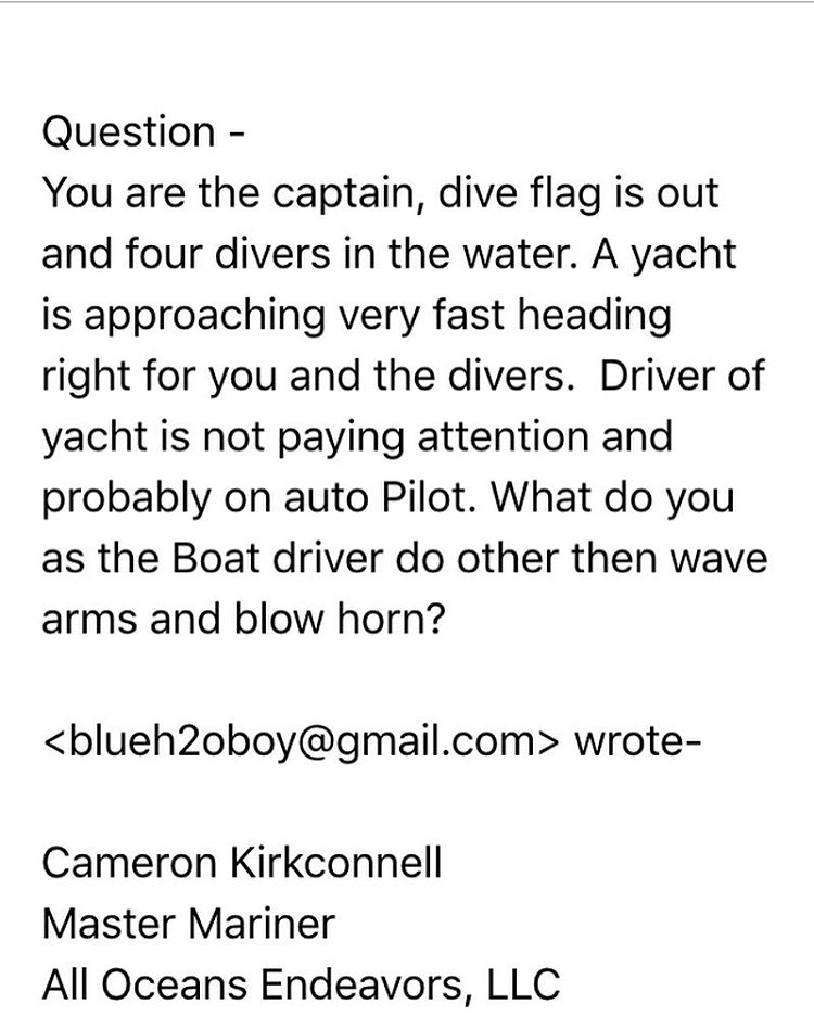 Someone emailed this question into world renowned spearo, Cam Kirkconnell