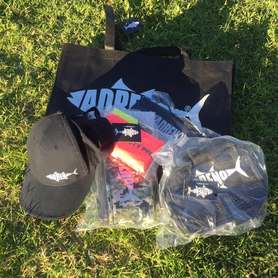 Adreno donated a bunch of gear for each entrant including hat, gun cover, safety pack, and mask bag.