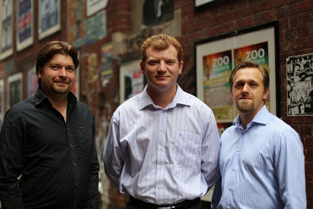 Cofounders of the new mobile technology for seniors are (left to right) Dennis Volodomanov, Dmitry Levin and Leon Kosher.