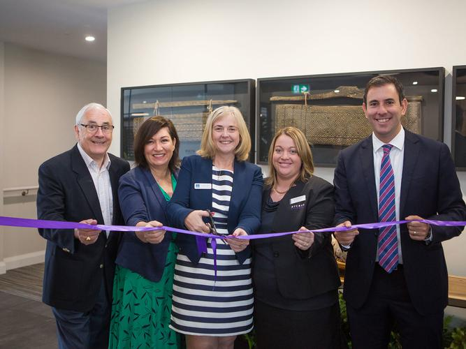 From left – Arcare Development Director Mal Humphries, State Member Leeanne Enoch,  Cr Angela Owen, Arcare Parkinson Manager Vanessa Muscat, Federal Member Jim Chalmers