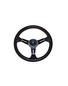 NARDI SPORTS STYLE 40MM DEEP DISH STEERING WHEEL - 330MM (PERFORATED LEATHER  - RED STITCH)