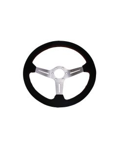 NARDI SPORTS STYLE 70MM DEEP DISH STEERING WHEEL - 350MM (SUEDE - RED STITCHING)