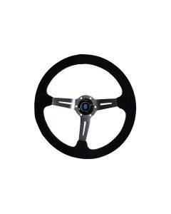 NARDI SPORTS STYLE 90MM DEEP DISH STEERING WHEEL - 350MM (SUEDE - RED STITCH)