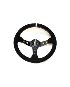 SPARCO SPORTS STYLE 90MM DEEP DISH STEERING WHEEL - 350MM (SUEDE - WHITE STITCH)