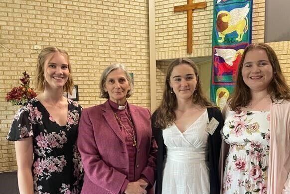 Archbishop at confirmation for Heather Vivian and Caitlin St Nicolas Carine Duncraig June 2021