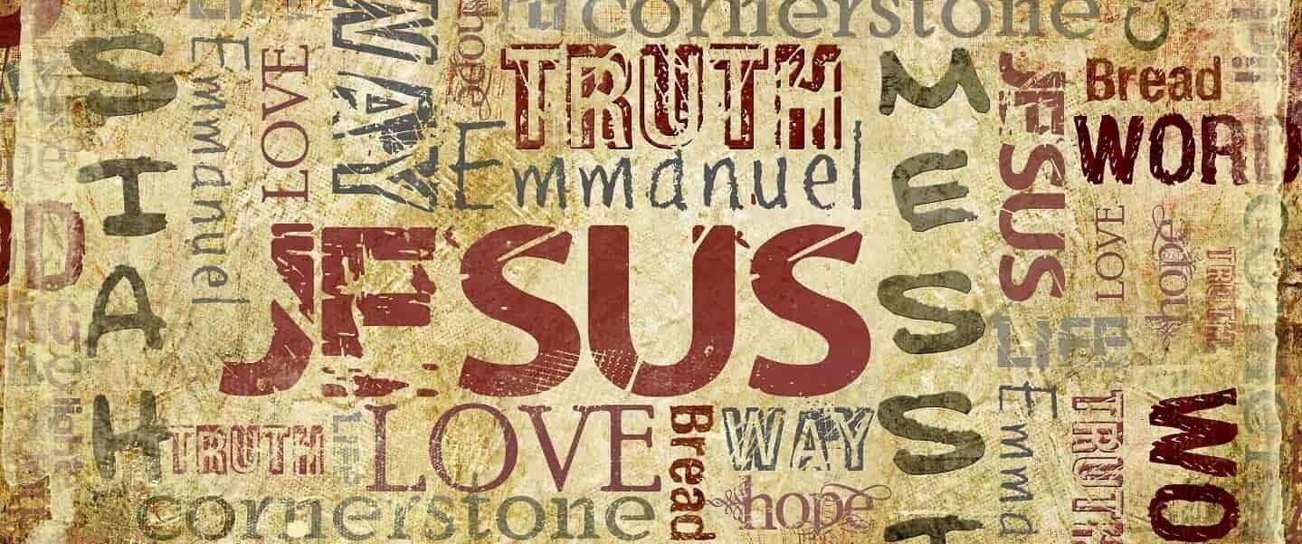 Jesus names on old manuscript banner