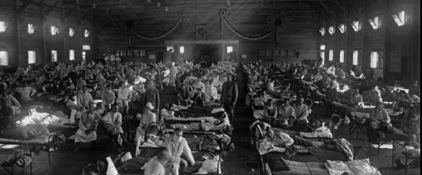 Spanish flu full hospital beds banner