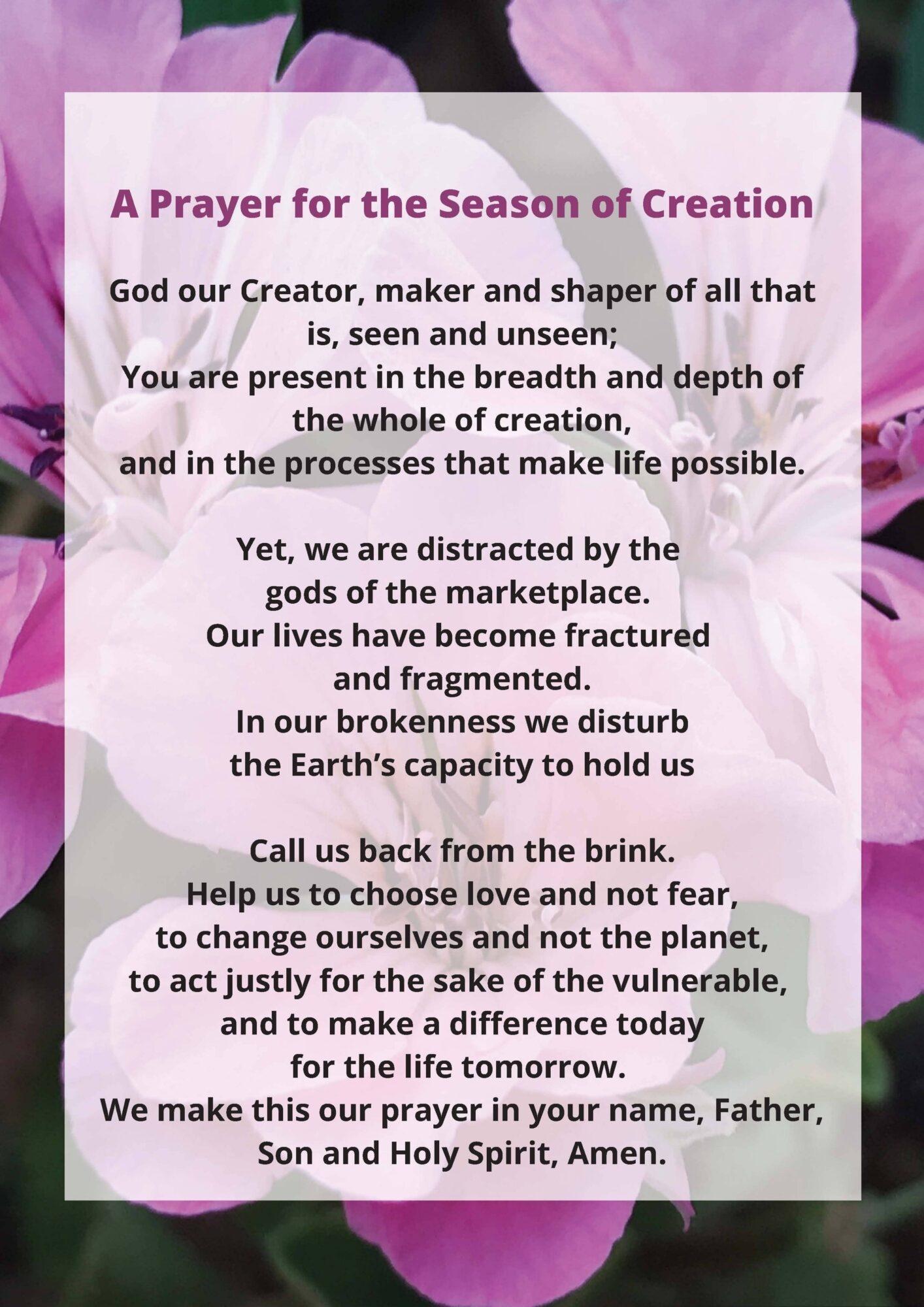 Eco Care Prayer for Season of Creation