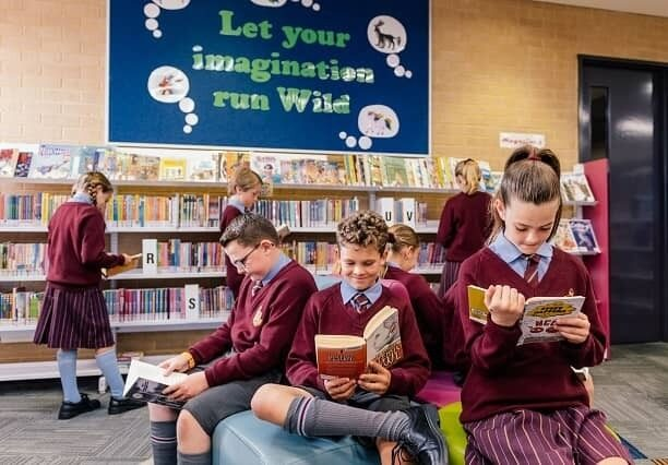St Marks School students in library