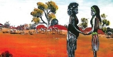 Aboriginal Artwork Here is The Visitation of Mary to Elizabeth Artist Daphne Davis