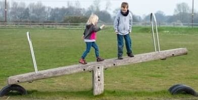 Boy and girl standing balanced on wooden seesaw thumbnail