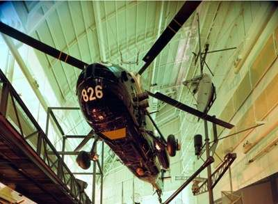 Westland Wessex helicopter hanging from the roof of the museum