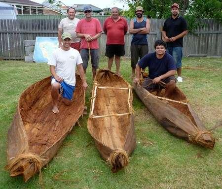 Group photo of canoe builders