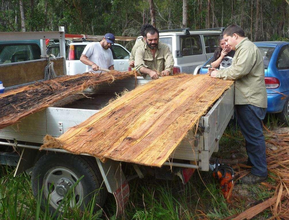 Loading bark onto back of truck