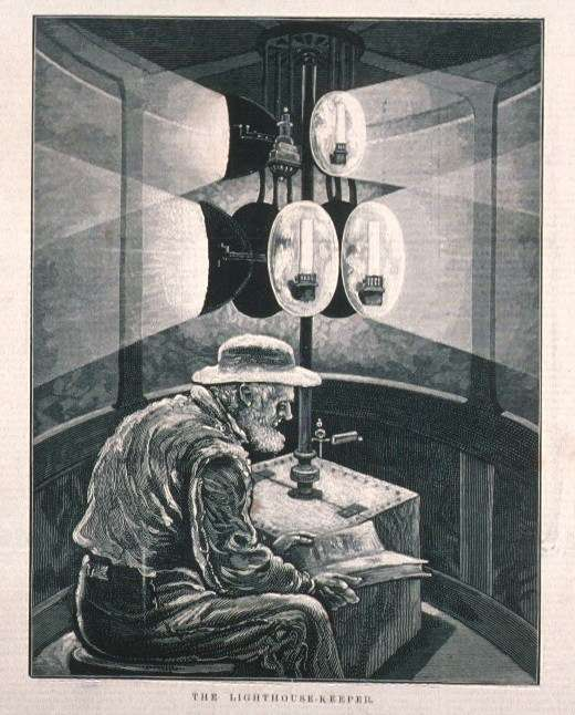 Engraving of a lighthouse keeper