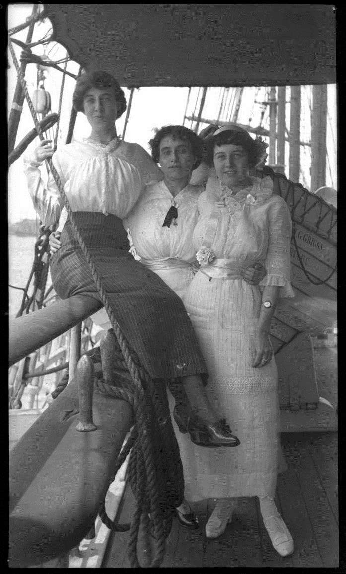 Three women on the deck of E R Sterling