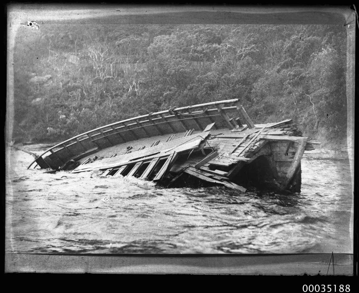 Partially submerged wreck of Greycliffe at Bradleys Head