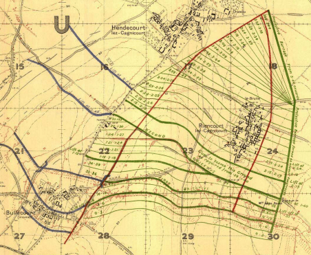 Part of a map from p11, Unit Diaries of the 6th Infantry Brigade AIF, May 1917, highlighting the village of Bullecourt (lower left) and the first and second objectives (thick green lines) of the 22nd Battalion on the 03.05.1917. Australian War Memorial Collection