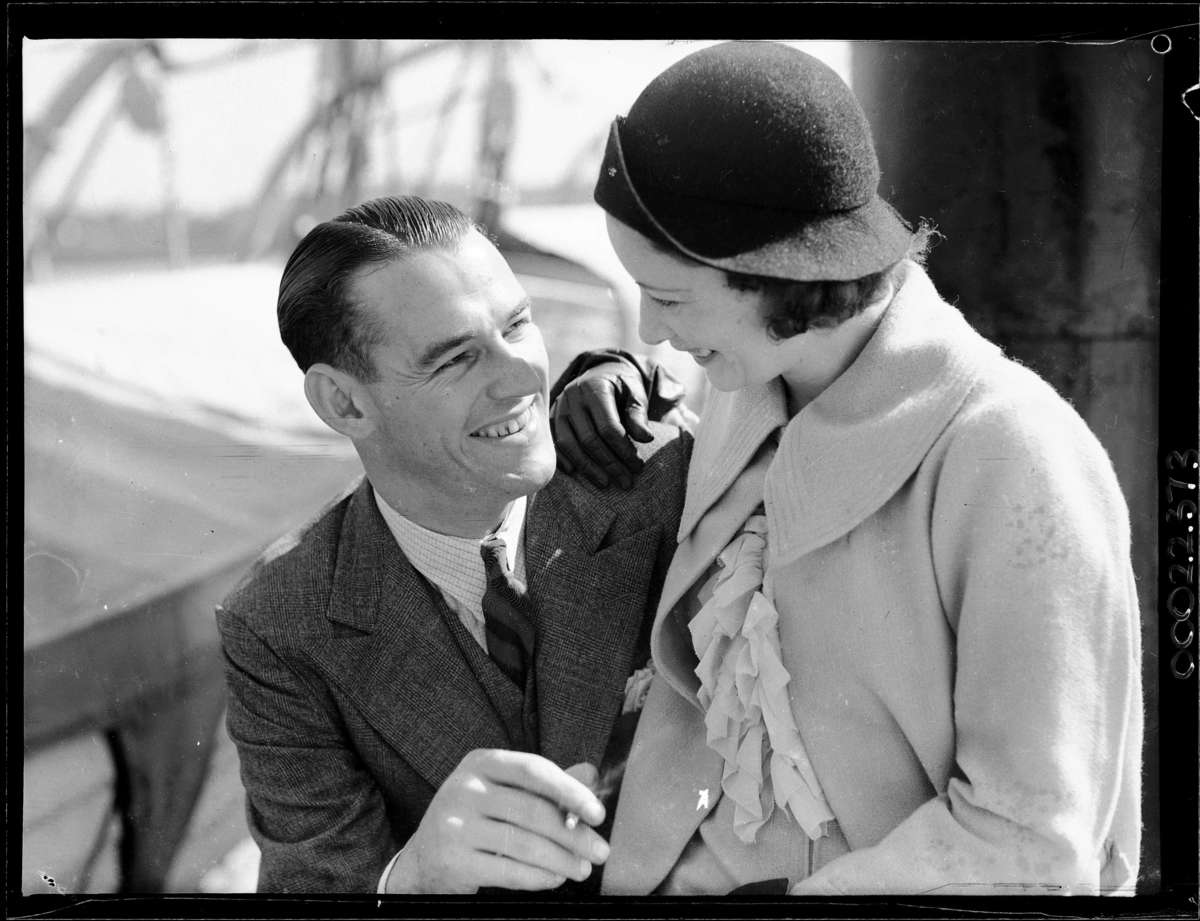 Brian Abbot and his wife Grace Rikard Bell on board SS Morinda. This photograph was also published in The Australian Women's Weekly on 24 October 1936Samuel J Hood Studio ANMM Collection
