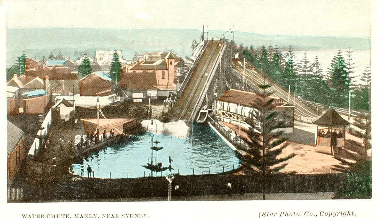 Photographic postcard of Steyne Court Water Chute & Toboggan, Manly. C 1905. Photograph by Star Photograph Co., ANMM Collection 00002855