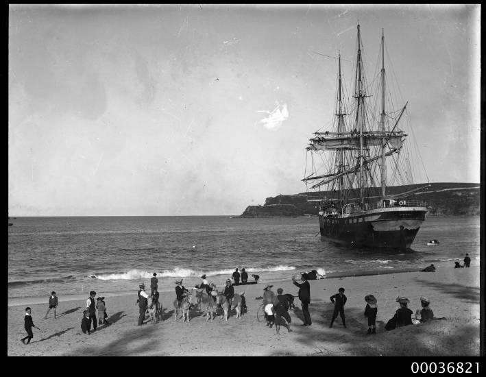 VINCENNES aground at Manly beach, with donkey rides available nearby. 1906 Photographer Samuel J Hood, ANMM Collection 00036821