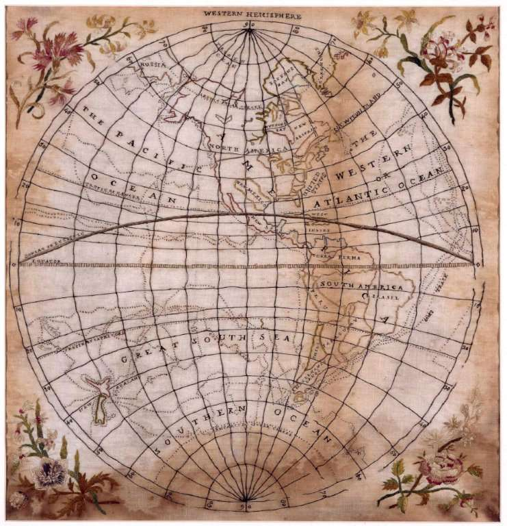 This embroidered map in the Australian National Maritime Museum collection is attributed to Elizabeth Cook and depicts the western hemisphere and route of Cook