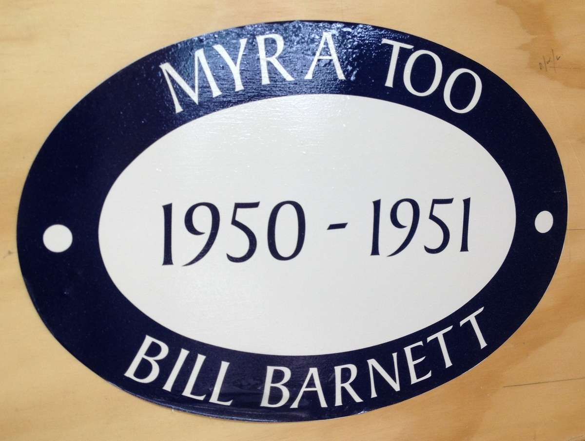 MYRA TOO emblem displayed on the wall of Bob McLeod's workshop. Photo Penny Hyde 2013