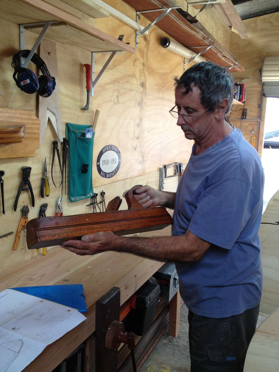 Bob McLeod in the shed he built specifically for the project to build the replica MYRA TOO. Photo by Penny Hyde 2013