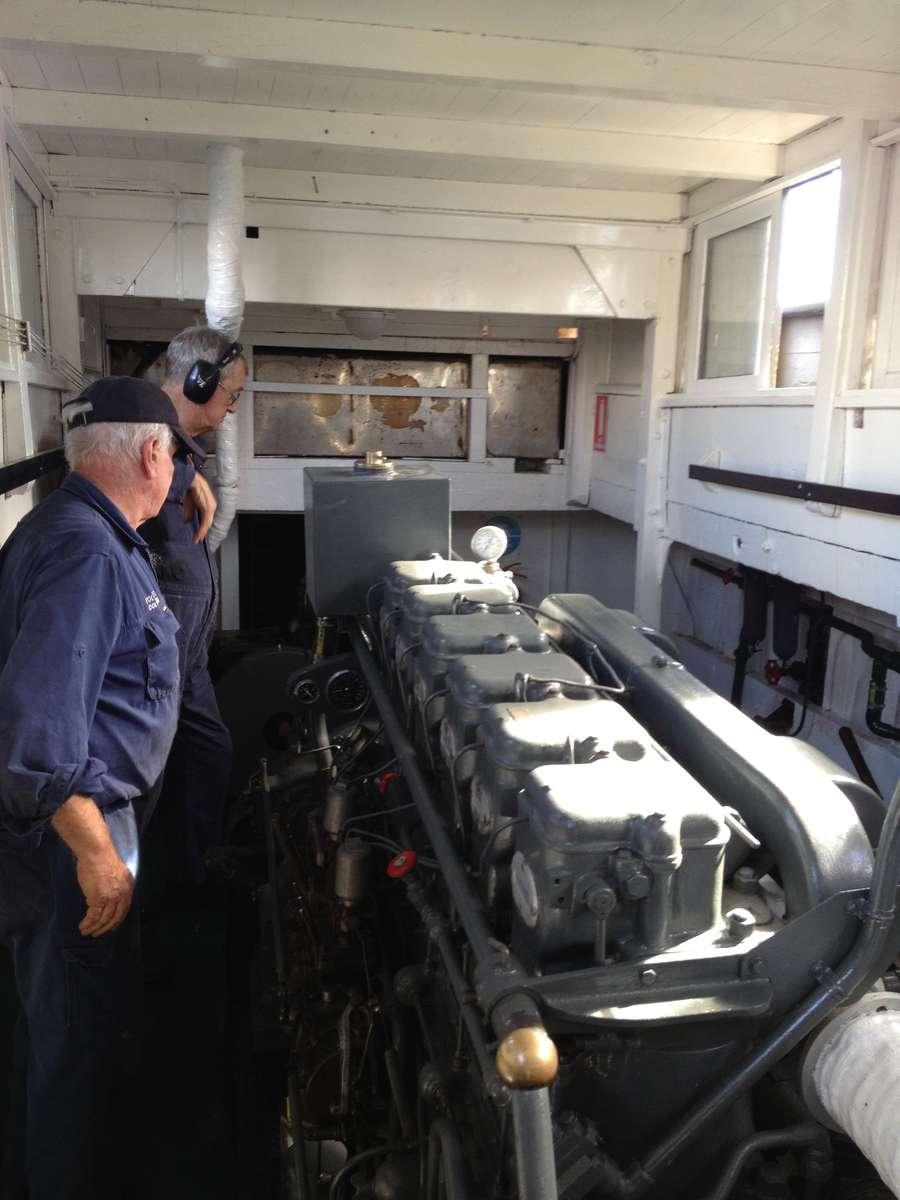 Monitoring MV Krait's 6 cylinder Gardner diesel engine during a maintenance run. ANMM photo by Penny Hyde