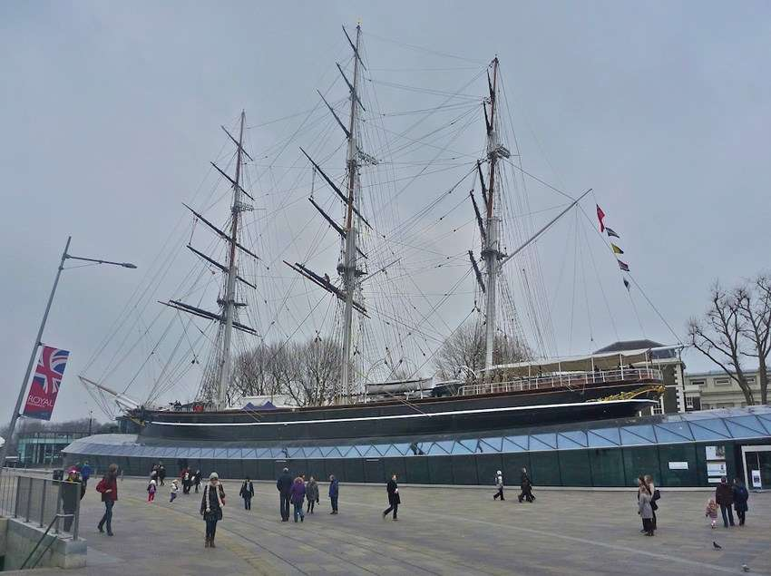 Photo of tall ship Cutty Sark on display at Greenwhich