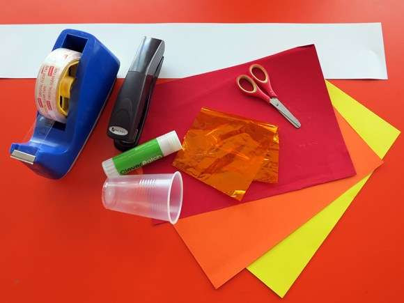 tape, glue, scissors, paper, card, cup, cello